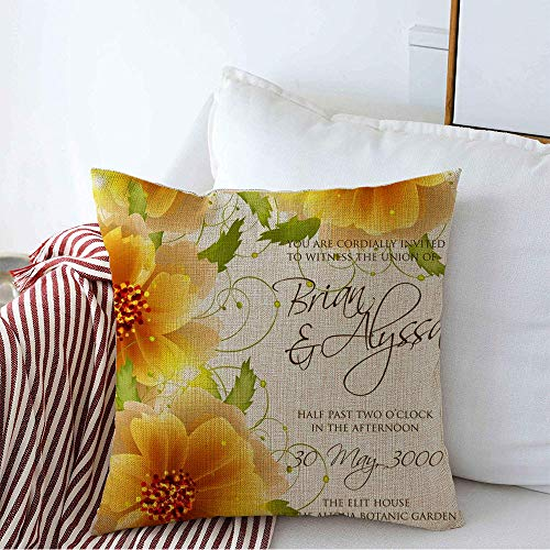 Decorative Throw Pillow Cover Colorful Aloha Wreath Beautiful Flower Abstract Border Modern Tropical Floral Nature Watercolor Cozy Square Cushion Covers 16 x 16 Inches for Bench Bedding Car