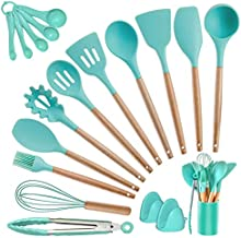 Kitchen Utensils Set Silicone Cooking Utensils - SZBOB Heat Resistant Kitchen Tools Wooden Handle Spoons Kitchen Utensil Set with Holder Spatulas Turner Tongs Whisk Kitchen Appliances for Cooking