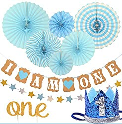FIRST BIRTHDAY DECORATION SET FOR BOY 1st Baby Boy Birthday Party Blue Hat Crown Circle Dots Paper Garland Cake Topper One