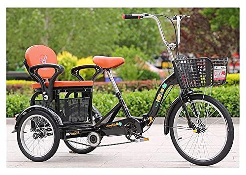WANGQW Triciclo a 3 Ruote per Adulti - Bici da Crociera t 3 rotelle Bikes Adult Tricycle Seniors Pedal Trike 20 Pollici Doppia a Tre Ruote con Cestino di Grandi Dimensioni per Lo Shopping ricreativo