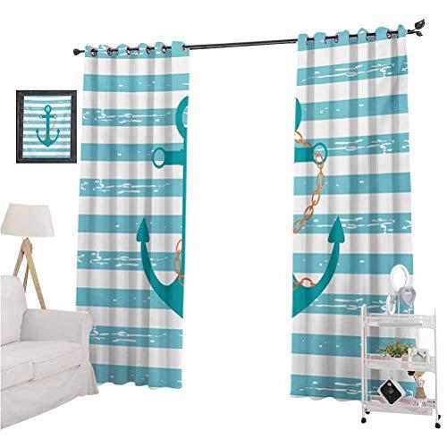 Rideaux occultants imprimés pour fenêtre - Motif ancre de bateau - Inspiré par la vie marine - 2 rideaux de 243 cm de long - Pour chambre d'enfant, bleu sarcelle, turquoise, blanc