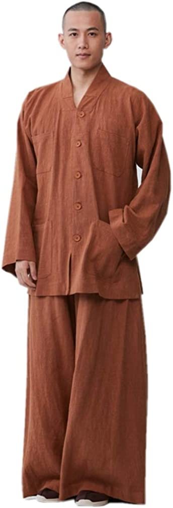 ZanYing Men Casual Suits Buddhist Monk Meditation Yoga Suits Wide Leg