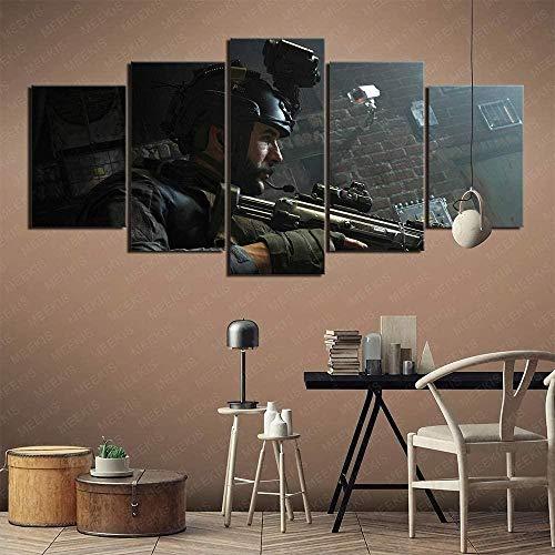 wodclockyui 5 Piezas Cuadro de Lienzo- Call of Duty Modern Warfare Pintura 5 Impresiones de imágenes Decoración de Pared para el hogar Pinturas y Carteles de Arte HD 200cmx100cm sin Marco