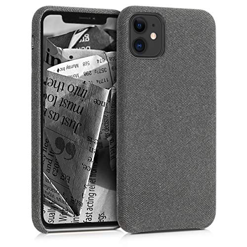 kwmobile Hülle kompatibel mit Apple iPhone 11 - Stoff Hülle Handy Schutzhülle - Backcover Cover Grau