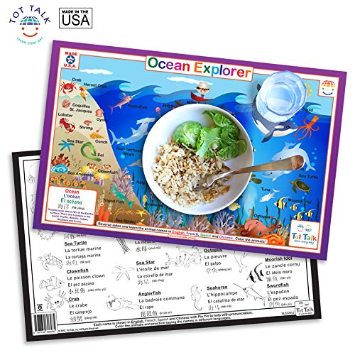 Tot Talk Ocean Explorer Educational Placemat for Kids, Washable and Long-Lasting, Double-Sided, Made in The USA