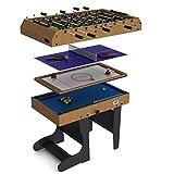 Riley - Table de Jeu pliable 4 en 1 - 12 jeux intégrés : air hockey, ping pong, baby foot, billard, jeu d'échecs, backgammon…...
