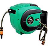 ReelWorks Water Hose Reel Retractable Elite 1/2' Inch x 50' Foot Long Premium Commercial Flex PVC Hose Heavy Duty Spring Driven Industrial with PVC Nozzle and Quick Disconnects for Garden and Lawn