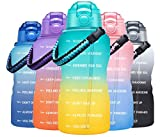 Fidus Large Half Gallon/64OZ Motivational Water Bottle with Paracord Handle & Removable Straw - BPA Free Leakproof Water Jug with Time Marker to Ensure You Drink Enough Water Daily-Green/Golden