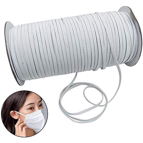 ZHANG wit zwart platte geweven elastische band voor naaien, 6mm breed voor tailleband, manchetten, dressoir, maatwerk (wit,90m)