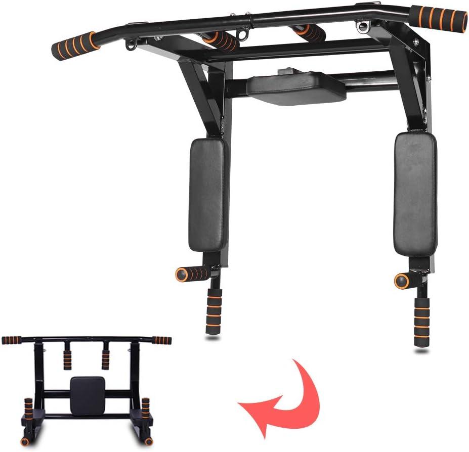 Jandecfit barra de dominadas para montaje en pared, estación de inmersión de barra de dominadas multifuncional montada en la pared para entrenamiento de fuerza de cuerpo completo en casa, hasta 200 kg