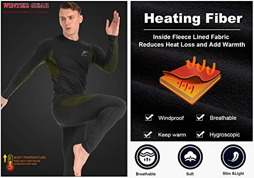Product Image 7: MeetHoo Thermal Underwear for Men, Fleece Lined Base Layer Set Long Johns for Running Skiing Black