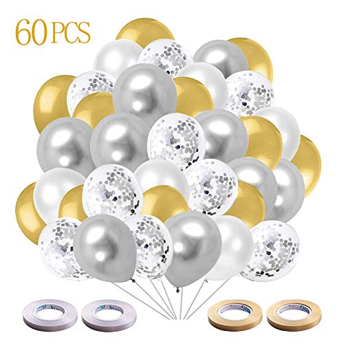 Luftballons Geburtstag, Latex Ballons 60 Stück Gold Silber Luftballon Helium Luftballons Konfetti Weiß Balloons Hochzeit Party Deko Luftballons(Gold+Silber+Weiß+Silber Konfetti)