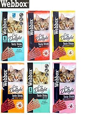 Webbox *NEW* 6 PACK MIXED CAT STICKS CAT KITTEN MEATY STICK TREAT COD DUCK BEEF CHICKEN TURKEY SALMON