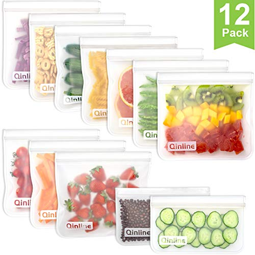 Reusable Storage Bags - 12 Pack Leakproof Freezer Bags (10 BPA FREE Reusable Sandwich Bags + 2 Reusable Snack Bags) Lunch Bag for Food Marinate Storage Home Organization