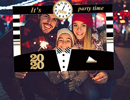 JoyTplay 3 stuks 2020 Happy New Year Photo Booth selfie-rekwisieten, zwart en goud 2020 Nieuwjaar 2020 fotolijst voor feest 2020 Nieuwjaarsparty oudejaarsavond party decoratie Sliver.