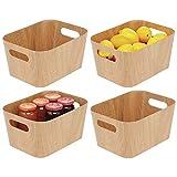 mDesign Juego de 4 recipientes para Alimentos con Asas y de cartón – Pequeñas cestas para Verduras para despensa o Nevera – Organizadores de frigorífico y congelador Aptos para Alimentos – Natural