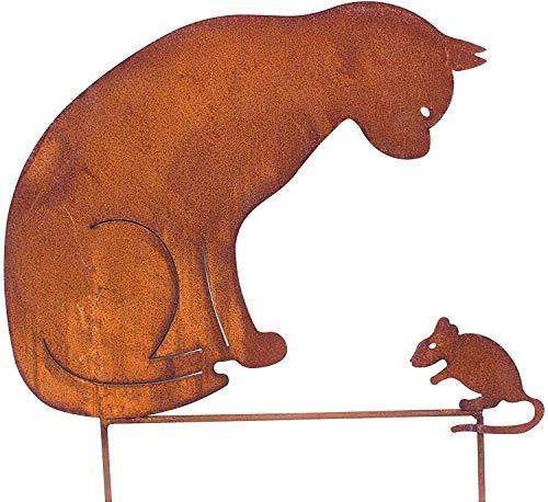 Bornhöft Gartenstecker Katze + Maus 50cm höhe Metall Rost Gartendeko Edelrost