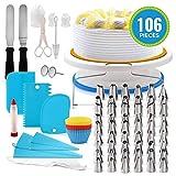 Decoración de Pasteles Suministros Kit, 106 piezas para hornear, la placa giratoria soporte los pasteles espátulas más suave del raspador magdalena adorna el kit fiesta cumpleaños niños,Azul