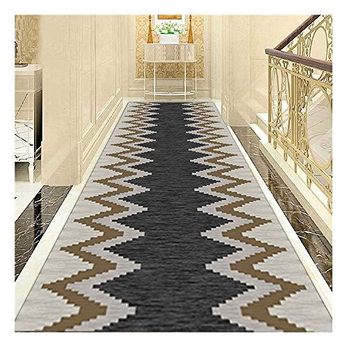 TXOZ - Q - Alfombra geométrica en zigzag, color gris oscuro y negro, para pasillo, dormitorio, salón, cocina, diseño geométrico Bold (tamaño: 200 x 100 cm)