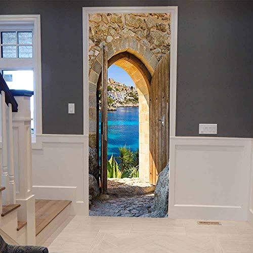 Arches Blick aufs Meer 90x210cm Tür Wandmalerei Aufkleber hohe Auflösung Qualität Home Decor Wandaufkleber 3D Tür Wandbild Kunst Aufkleber Zimmer Home Dekorationen