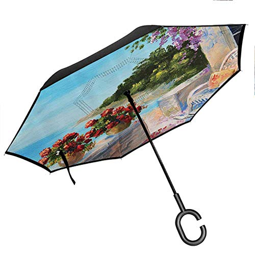 Lakehouse Decor Collection Umbrella for Women with UV Protection Sea View from a Balcony with Cosy Rocking Chair and Flowers in Summer Clear Sky Oil Painting Turquoise Red Lilac Blue