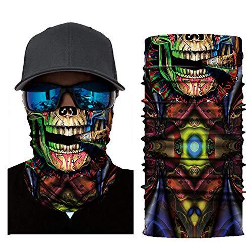MMLC Fishing Face Shields Multifunktionstuch Totenkopf Maske Clown Halstuch Halloween Kostüme Motorrad Ski Jagen Fahrrad (D)
