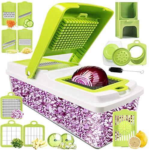 Kithouse Vegetable Chopper Onion Chopper Dicer Slicer Cutter Manual, Vegetable Spiralizer Mandoline Slicer Food Veggie Kitchen Fruit Chopper Heavy Duty