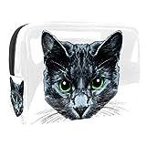 Sac à Maquillage Yeux verts de chat noir À motifs Trousse de Maquillage Organisateur des Cosmétiques de Voyage Trousses de Toilette Grande Capacité 18.5x7.5x13cm