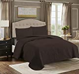 A D Tex 3 Piece Embossed Reversible Bed Spread Coverlet Quilt Bedding Set + Pillow Cases Lightweight Microfiber Bedding (Chocolate Brown, Twin)