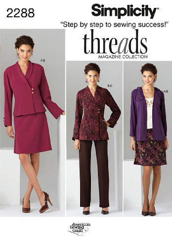 Simplicity Threads Magazine Pattern 2288 Women's Jacket, Pants, Skirt and Knit Cardigan Sizes 20W-28W
