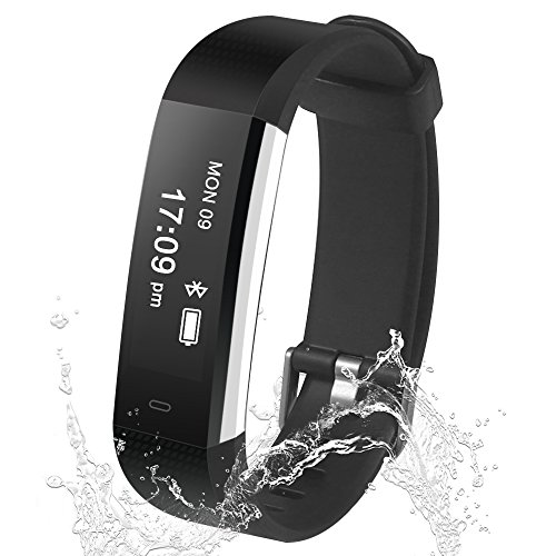 Damusy Fitness Tracker Smart Watch Bluetooth Pedometer Activity Waterproof Wristband with Sleep Monitor Sports Bracelet Calories Track Call/SMS Remind for iOS & Android Smart Phone (Black)