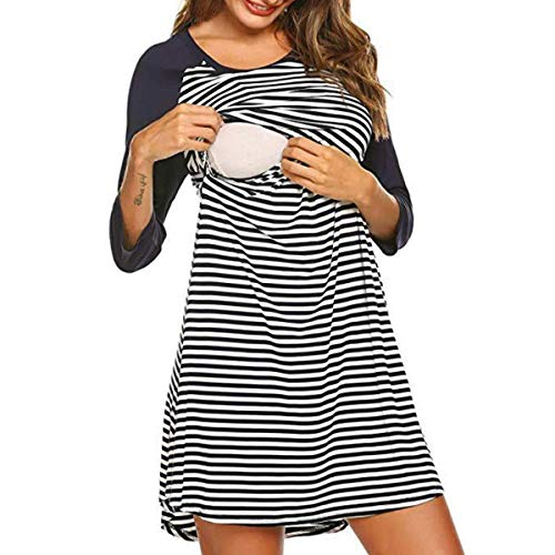 LLSS Pijama de Lactancia de Maternidad para Mujer, camisón, Cuello Redondo, Rayas, Manga 3/4, Falda de Lactancia para Mujeres Embarazadas, camisón, Ropa de Dormir