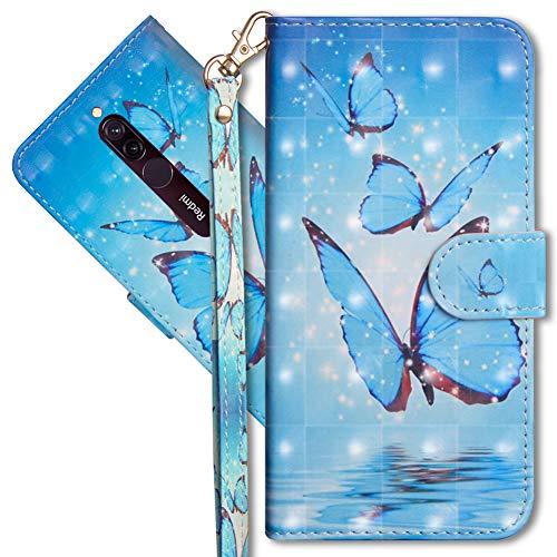 MRSTER Xiaomi Redmi 8A Handytasche, Leder Schutzhülle Brieftasche Hülle Flip Hülle 3D Muster Cover mit Kartenfach Magnet Tasche Handyhüllen für Xiaomi Redmi 8A. YX 3D Butterfly Spring