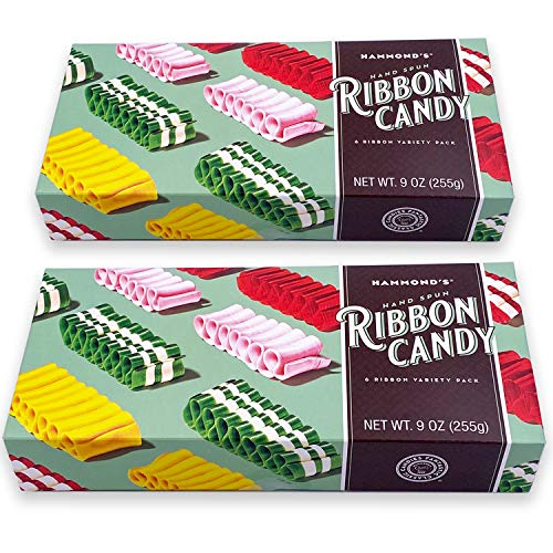 Hammond's Candies – Hand Spun Ribbon Candy - 5 Flavor Variety Pack, 2 Gift Ready Boxes, Handcrafted by Artisan Confectioners- Classically Delicious, Proudly Made in Denver Colorado- USA