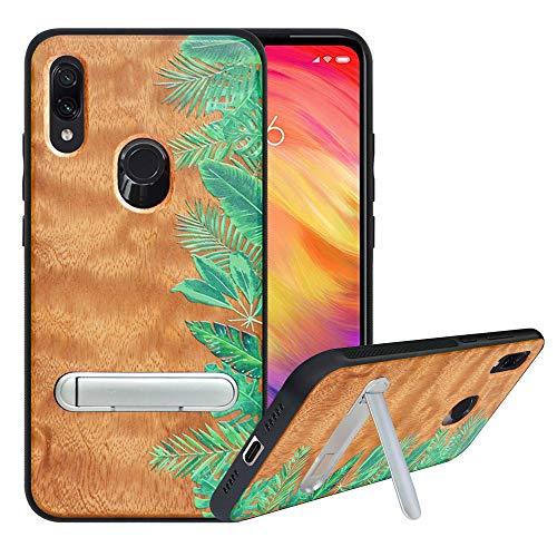 HHDY Funda de Madera para Xiaomi Redmi Note 7/Note 7 Pro/Note 7S, Carcasa Kickstand con Soporte de Metal, Case Cover Madera Real+TPU Bumper Caso Funda para Redmi Note 7/Note 7 Pro, Rainforest