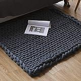 Coperta a maglia grossa, 80 x 100 cm, coperta in lana merino, lavorata a mano, calda, coperta per divano, coperta in lana molto spessa tessuta a mano, decorazione per la casa (grigio)