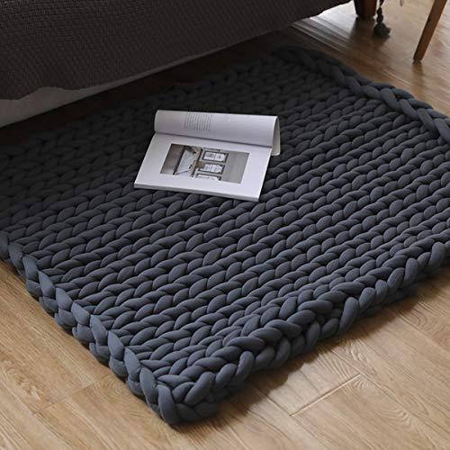 Manta gruesa de punto acogedora de 80 x 100 cm, hecha de lana merino tejida a mano, cálida, manta de sofá de lana muy gruesa tejida a mano, decoración del hogar (gris)
