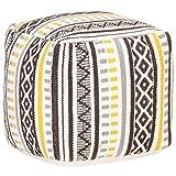 Goliraya Puf de diseño Estampado de algodón,Puff Taburete Cubo   Puffs Redondos, Multicolor 45x45x45 cm