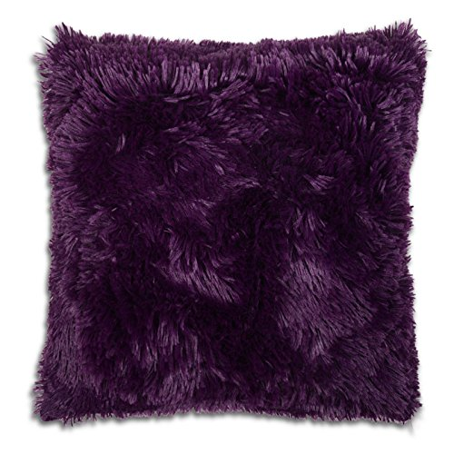 Adore Home Long Pile Super Soft and Cuddly Shaggy 17x17 (43x43cm) Cushion Cover (Purple)