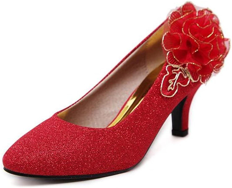 AGoGo Women's Kitten Heel Lace Pearls Glitter Wedding shoes
