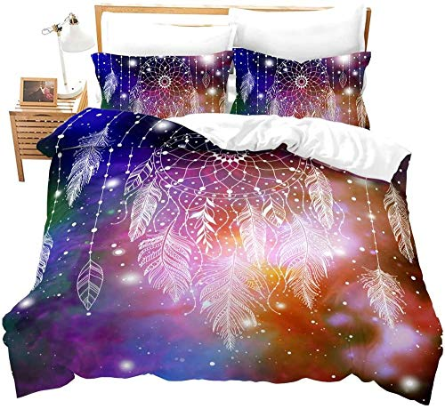 Fadaseo Blue Purple Dream Starry Sky White Dream Catcher Feather Print Pattern- Kids Bedding Set - Junior/Toddler/Cot Bed Duvet Cover And Pillowcase (260 X 220 Cm)