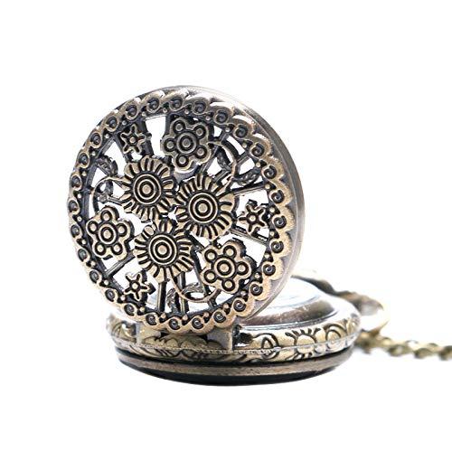 DLIUYU Pocket horloge Brons Vintage Stijlvolle Mooie Bloem Kleine Maat Quartz Pocket Horloge Ketting voor Womens Dames Geschenken