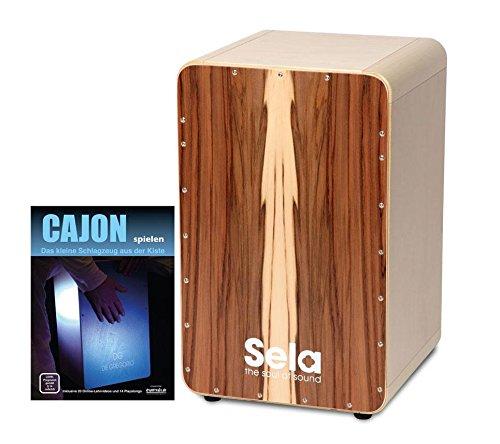 Sela SE 002 CaSela Cajon Bausatz Satin Nuss SET inkl. Cajonschule (selber bauen, schnell und einfach montiert, austauschbare Spielfläche, massive abgerundete Ecken, rutschfeste Gummifüße, inkl. Noten)