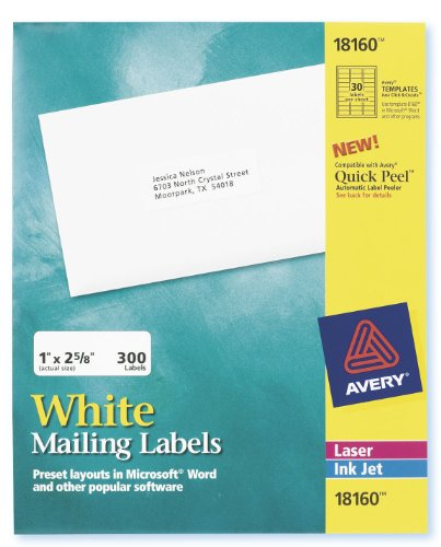 Avery 18160 Easy Peel Address Labels, 1 x 2-5/8, White, 300 Labels/Pack