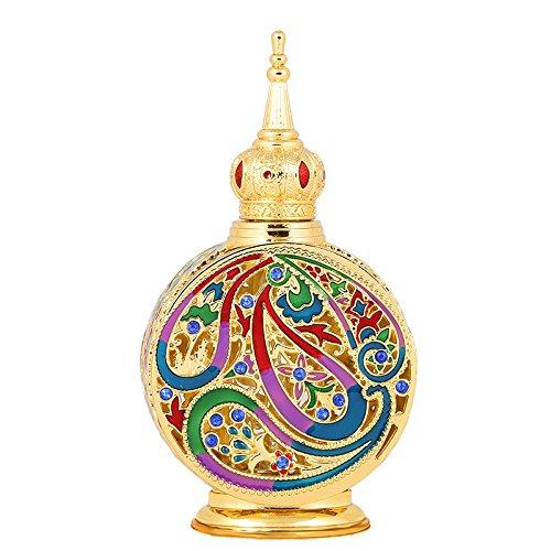 H&D Bunt Golden Handwerkich Parfüm Flaschen Alt Stil leer nachfüllbar Parfüm Flakon für die Reise oder Geschenk 18 ml