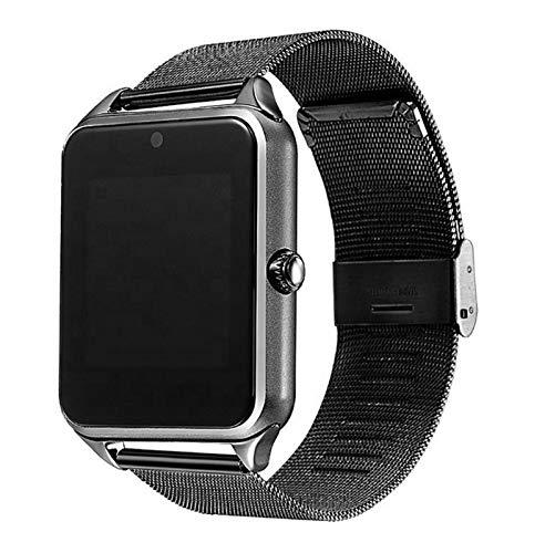 WSY Smart Watch-Metallband-Träger-Kamera-SIM TF-Karte Bluetooth-Schrittzähler Kompatibel Für Android PK Y1 Dz09 V8 Smartwatch (Color : Black)