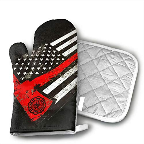 TUBIAZICOL USA Thin Red Line Firefighter Axe Oven Mitts and Pot Holders Kitchen Gift Sets Heat Resistant Oven Gloves Non-Slip Oven Pad for Cooking Baking BBQ