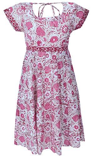 GURU SHOP Minikleid, Luftiges Sommerkleid, Damen, Pink, Baumwolle, Size:M (40), Kurze Kleider Alternative Bekleidung