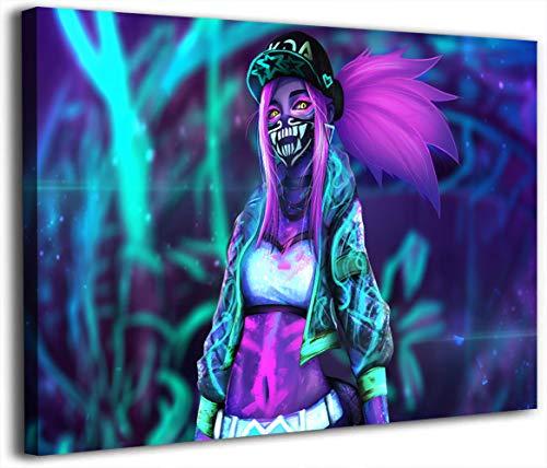 Póster de Lea-gue of Leg-ends de videojuegos, impresión sobre lienzo, 45,7 x 60,9 cm, Kda Neon Akali, lienzo artístico para pared, enmarcado listo para colgar