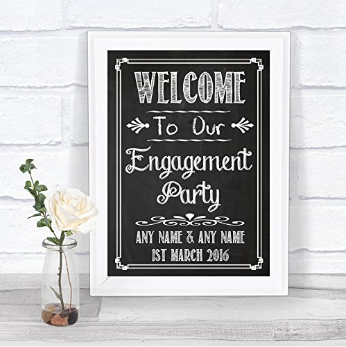 Chalkboard Style Welcome To Our Engagement Party Vintage Personalized Wedding Sign